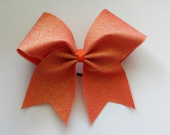 Holo orange glitter cheer bow