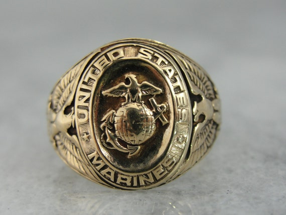Vintage Marine Corps Signet Ring In Fine Gold Rgft153d