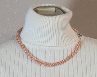 Russian Spiral Beaded Necklace in Pastel Orange and White