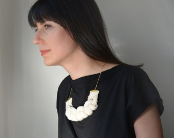 big bold chunky rope necklace/ Statement eco friendly necklace .