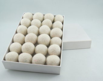 24 Felt Balls, 1.5cm , Ivory (can be dyed)