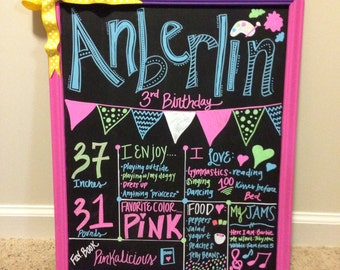 Birthday chalkboard 3rd birthday chalkboard sign paint party themed painter party chalkboard