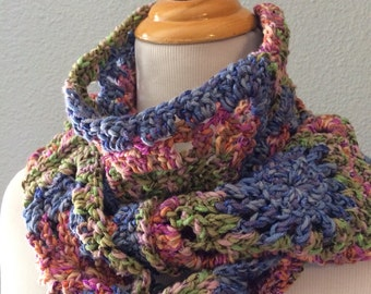 Elegant Granny Square Scarf in Blue Green Pink Extra Long