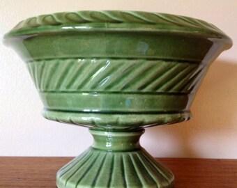 Vintage Green Pedestal Planter, Green Ceramic Flower Pot