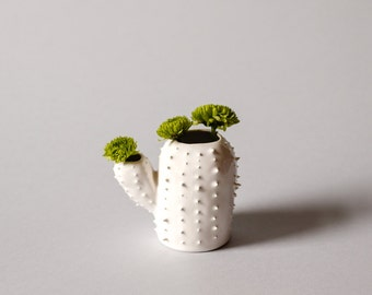 Modern small spiky white vase / cactus shaped sucullent planter / flower pot / white / spring