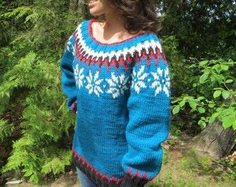 Bulky handknit women's teal wide neck sweater