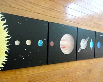 Custom Kids Art Made to Order Solar System Art Space Painting - Original Textured Kids Planet Art Set of 4 Canvas