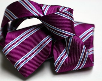 Skinny Silk Tie (2.75inch) in Stripes with Fuchsia, Blue, White