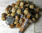 Wood and Metal Brown Rosary  - Gorgeous Jerusalem Vintage Rosary- Holy Land