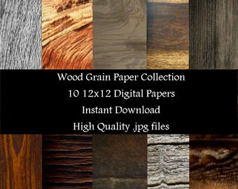 Wood Grain Paper Collection Papers for Dgital Scrapbooking.