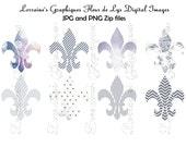 French Blue Toile de Jouy Digital Fleur de Lys JPG and PNG