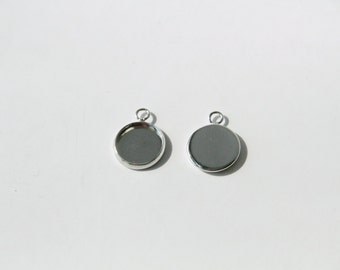 50 pcs of 12mm cabochon setting blank tray pendant silver color