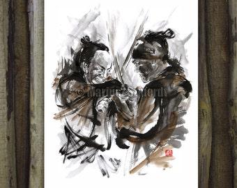Samurai, Samurai armor, samurai art, samurai poster, watercolor painting, japanese armor, sumi-e, japanese painting, samurai illustration