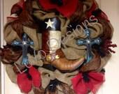 Door Wreath, Country Wreath - Western Wreath - Burlap Wreath - Rustic Wreath - Cowboy Wreath