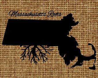 Burlap frame-able art - Massachusetts Roots