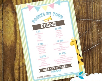 Circus Theme Baby Shower Points In Your Purse Game - Giraffe - Pastels