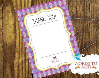 CUSTOM Little Girl Mosaic Birthday Party Thank You Cards -- Made To Order -- Customizable