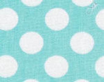HALF YARD Aqua and White Dot Fabric Finders Cotton Fabric