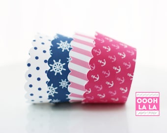 MADE TO ORDER Sail Away in pink and blue Cupcake Wrappers- Set of 12, different sizes availableSa