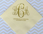 Custom Wedding Napkins with Script Monogram