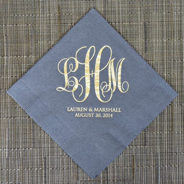 Personalized Wedding Monogram Napkins Custom Napkins Gold