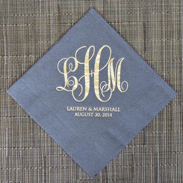 personalized wedding monogram napkins custom napkins gold