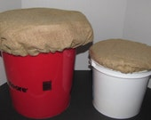 SALE - Burlap Bucket Lid Seat Cover Pair