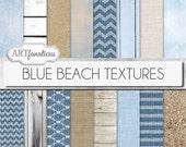 "Digital papers beach, ""BLUE BEACH TEXTURES"" beach, sand, beach wood, drift wood, blue sky, blue ocean,sea shells,burlap, linen,weave,chevron"