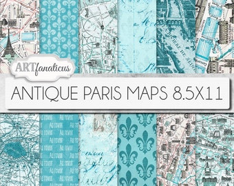 "Paris maps 8.5x11 digital papers, ""ANTIQUE PARIS MAPS"" Paris map,vintage maps,blue maps, fleur de lis,french maps for scrapbook, backgrounds"