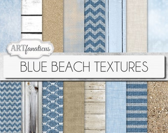 "Digital papers beach, ""BLUE BEACH TEXTURES"" beach, sand, beach wood, drift wood, blue sky, blue ocean,sea shells,burlap, linen,weave,chevron"