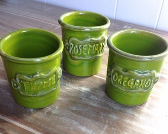 Italian Herb storage jars // green jars for oregano, rosemary and thyme