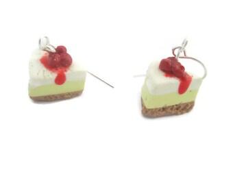 Miniature Food Earrings Women's Food Earrings Polymer Clay Earrings Cherry Cheese Cake Earrings Earrings