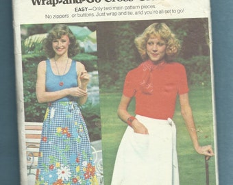1970's Butterick 4185 Classic Retro Wrap Skirt Size Small 8/10