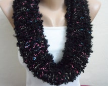 black knit infinity scarf  multicolor circle scarf