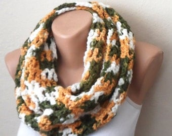 green white orange knit infinity scarf multicolor circle scarf crochet scarf winter scarf shawl