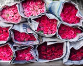Bouquets of Pink Roses in Chiang Mai Market. Thailand. Nature Photography. Print by OneFrameStories. - OneFrameStories