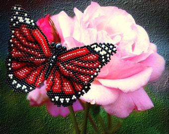 Pattern and tutorial with photos for beaded butterfly - Artisan jewelry schema - peyote and herringbone butterfly