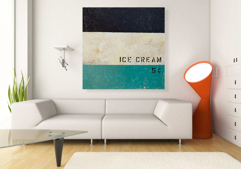 mid century modern wall art ice cream painting 32x32 original. Black Bedroom Furniture Sets. Home Design Ideas