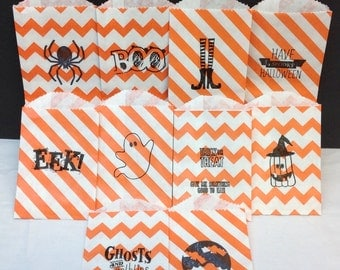 Hand Stamped Halloween Bags..... Mini Chevron......Mini Diagonal...20 Assorted.......Party Favors.....Candy.....