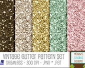 SALE - Glitter Pattern Set for Photoshop / PSE - Scrapbooking Cards Invitations - Vintage Pink, Green, Gold, Brown, Cream - CU ok