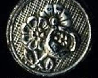 Vintage czech glass button black with metalic flowers - size 8, 18mm  AFCB 083
