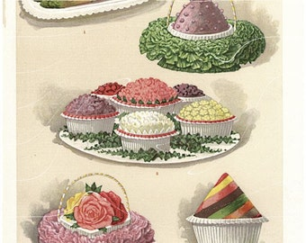 Antique Culinary Print Artistic Assorted Ices Original