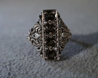 Vintage Sterling Silver 4 Round Smokey quartz Fancy Scrolled Etched Filigree Victorian Style Band Ring, Size 6.5