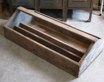 """Vintage Primitive Divided Wood Tool Box Caddy or Tray, 34"""" length, original paint and finish"""