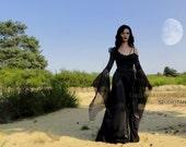E'rres Randevous haute noir couture unique handmade long dress with sheer buoyant sleeves