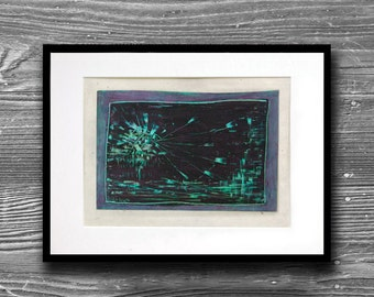 Matted oil crayon artwork - Blue black explosion over water