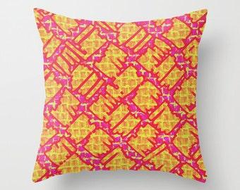 Yellow Pink Graffiti Pillow Cover, Fuchsia Throw Pillow Case