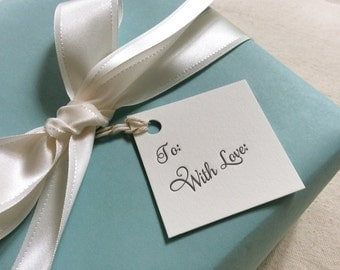 Letterpress Gift Tags - With Love Calligraphy Set of 10