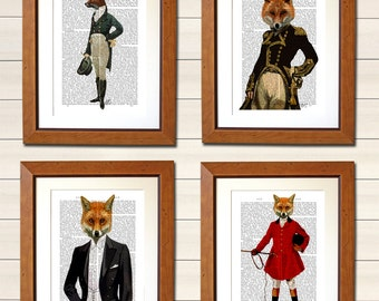 Foxy Collection Set Four Dictionary Art Prints  - Wall Decor Upcycled Dictionary Page Wall Art Wall Hanging fox print fox painting
