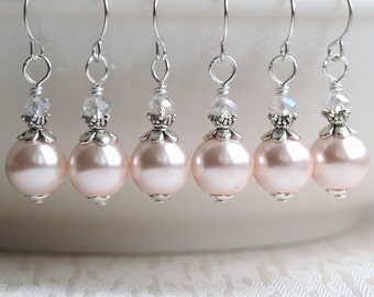 Blush Pearl Earrings, Bridesmaids Jewelry, Dangle earrings Bridesmaid earrings, Flower Girl Jewelry, Blush Pearl Jewelry, Pink Wedding Party